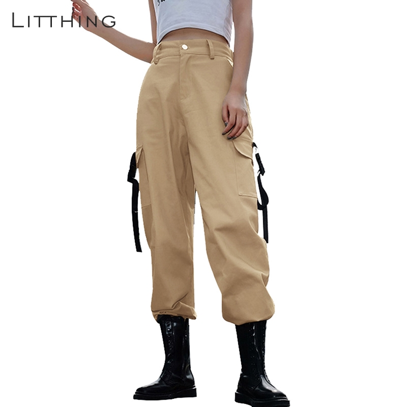 LITTHING 2019 Women Korean Style Cargo   Pants   Loose Joggers Black Casual High Waist Female Trousers Streetwear Ladies   Pants     Capri