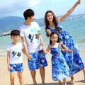 New Summer holiday family matching clothing Sport  girls mother dress Blue Dresses father Boy t shirt Shorts Pants sets Outfits