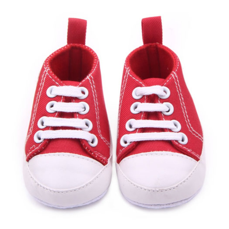 Baby Boys Girls Anti-Slip Soft Solid Sole Crib Shoes Sneakers Newborn Shallow Cotton Canvas Prewalkers