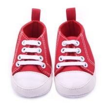 Baby Boys Girls Anti Slip Soft Solid Sole Crib Shoes Sneakers Newborn Shallow Cotton Canvas Prewalkers