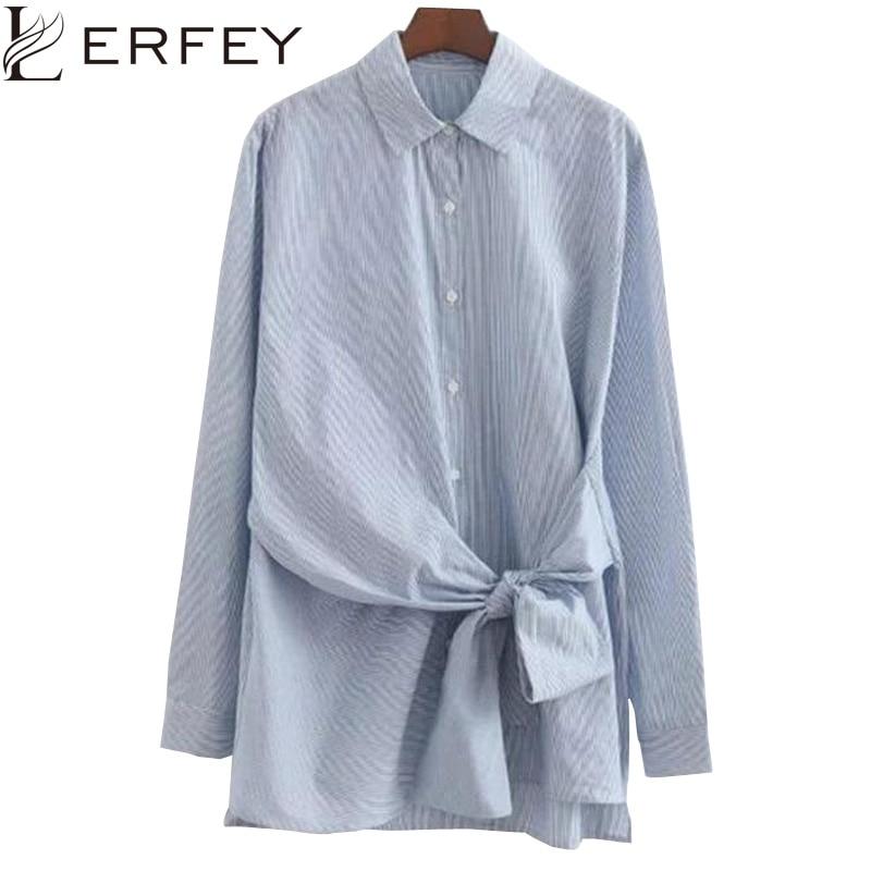 LERFEY Mujeres Volver Bordado Camisa de La Blusa de Manga Larga de Algodón Azul