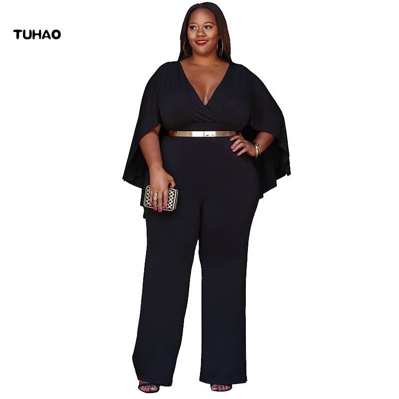 TUHAO Female Large Size Jumpsuit 2018 Summer Plus Size 3XL Sexy Office Lady Overalls Loose Ruffles Women's Jumpsuits LM04