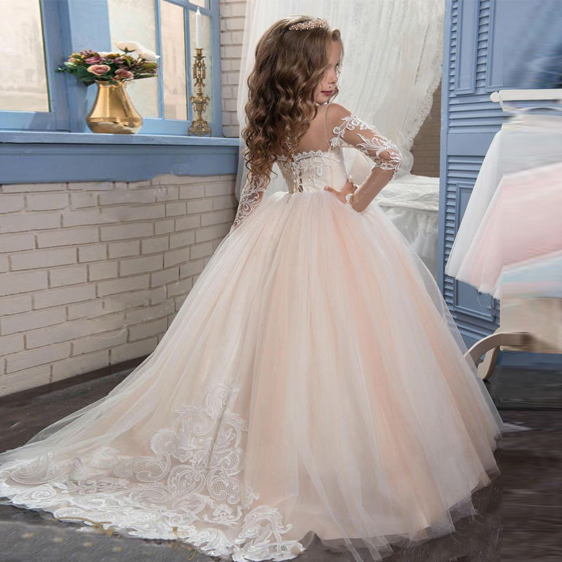 Red Lace Flower Girl Dress  Long Sleeves Ball Gown Kids First Communion Dresses Pageant Gown Vestidos 0-14Y