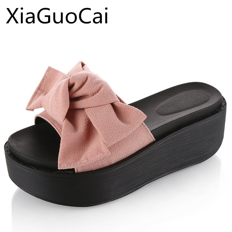 Platform Summer Women Slippers Beach Height Increasing Slides for Ladies Butterfly-knot Design Fashion High Heels Creepers