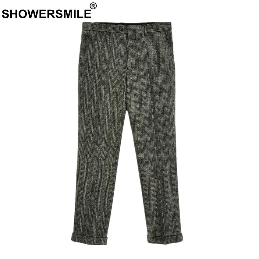 SHOWERSMILE Herringbone Gray Wool Pants Men Trousers Warm Thick Autumn Winter Woolen Tweeds Classic Retro Pants England Style