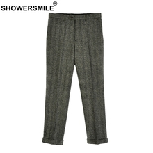 SHOWERSMILE Herringbone Gray Wool Pants Men Trousers Warm Thick Autumn Winter Woolen Tweeds Classic Retro England Style