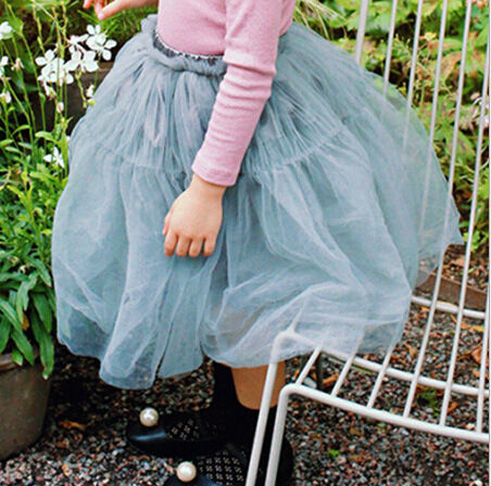 Korean Style Children TUTU Skirt  Little Girl Mesh Skirt  Pure Color Kids Tulle Skirt  gray black apricot