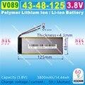 [V089] 3.8 V, 3.7 V, 3800 mAH, [4348125] PLIB; Polímero de iones de litio/batería de li-ion para el BANCO DE POTENCIA, tablet pc, teléfono celular