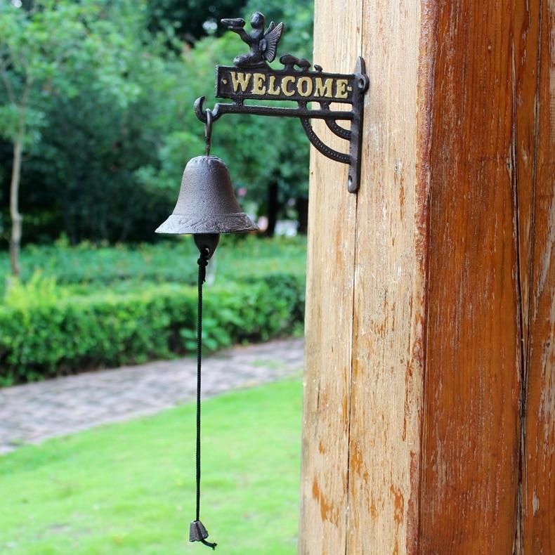 Чугунные Висячие ангелочки Добро пожаловать колокольчики для обеда настенное крепление домашний домик деревенский садовый декор Детская ... - 4