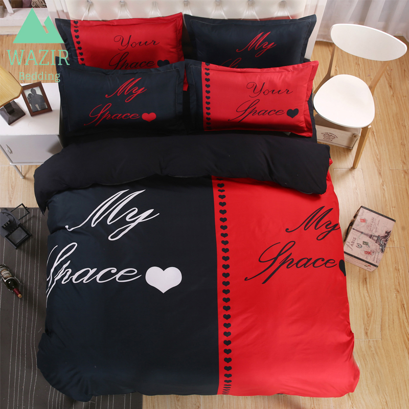 WAZIR Simple 3D Couple Bedding Set Printed Bedroom Home Textile Quilt Cover Pillowcase Bed Sheet Duvet Cover Wedding Decoration