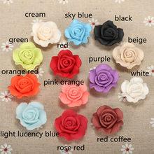 10 pçs/lote 23 milímetros Resina Rose Decoração Flores da Argila Do Polímero Contas de Roupas Calçados Colar Artesanato Acessórios Jóias Diy
