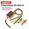 SM852B 3 фазы вращения тестер цифровой индикатор фазы детектор Светодиодный зуммер фазы последовательности метр тестер напряжения 60V ~ 600V AC 2018
