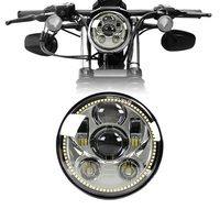 FADUIES For Harley LED Halo Chrome 5 3/4 LED Headlight with White LED Halo Ring for Harley Sportster, Dyna, Indian Scout others