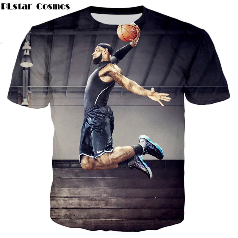 PLstar Cosmos Drop shipping 2017 summer New Fashion t-shirt Star character Lebron James 3d Print Men Women T shirts O-Neck tops