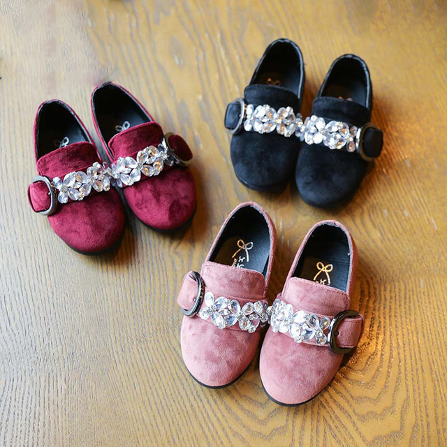New Crystal Girls Shoes Leather Princess Kids Shoes Children Sneakers Baby Casual Shoes PU tenis infantil Size 21-35