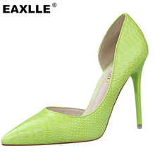 2016 New Design Brand New Stone Pattern Green Color Injection Rubber Sole Thin Heel Heel Shoes Women's Pumps DS638-2