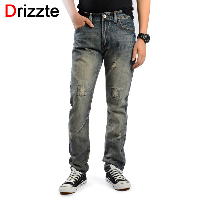 Drizzte Brand Mens Retro Ripped Distressed Jeans Grey Denim Jean Pants Trendy Men Trousers 33 34 35 36 38 Street Jeans fashion brand designer mens torn jeans pants hi street ripped denim joggers gray distressed jean trousers man streetwear lq076