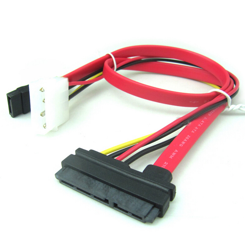 SATA Data Power Extension 22P 7+15Pin vers 4-Pin IDE Molex Cable 50cm