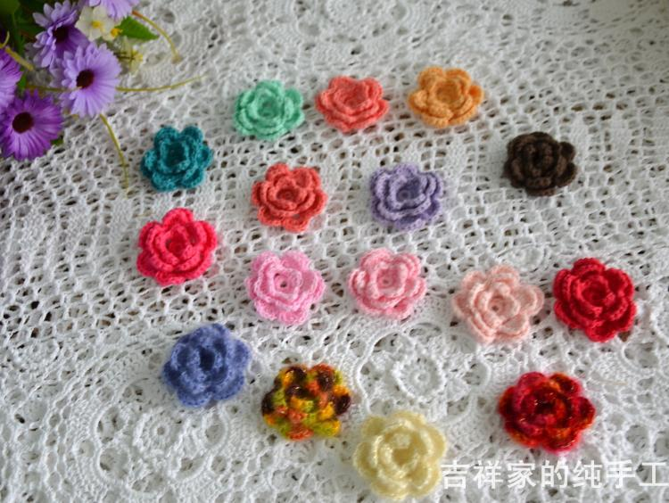 ( 30 pcs/lot) Free shipping 5-6cm wholesale 100% cotton crafts Crochet rose flower heads with good quality