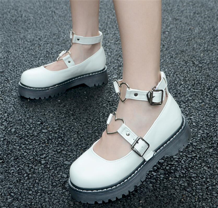 LoveLive Shoes  LOLITA Shoes JK Uniform Shoes PU Leather Heart-shaped Lac Shoes A508