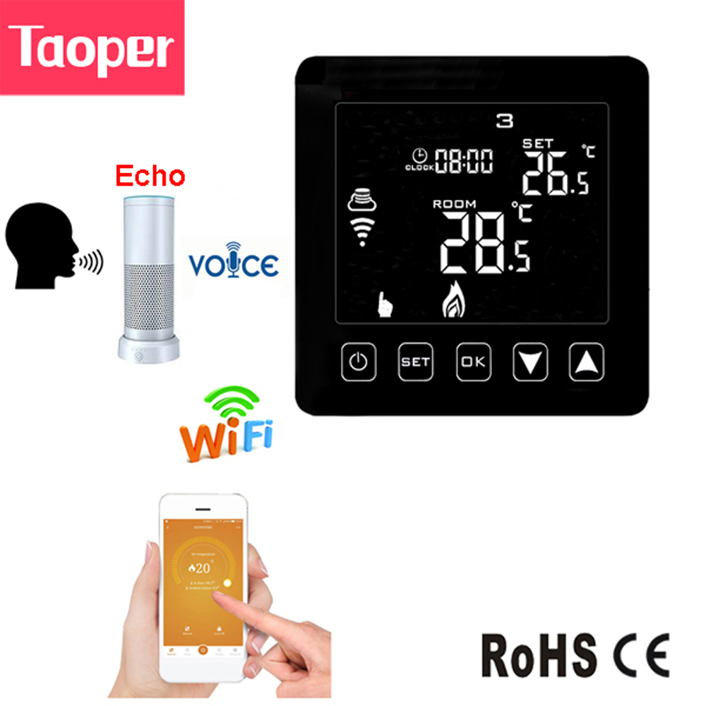 WiFi Echo Alexa Smart Thermostat for Wall hung Gas Boiler Heating Room Temperature Controller 100 240VAC