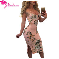 Dear Lover Spaghetti Strap Dress Sexy Ladies Print Lace Up Back Peachy Floral Bodycon Party Dress