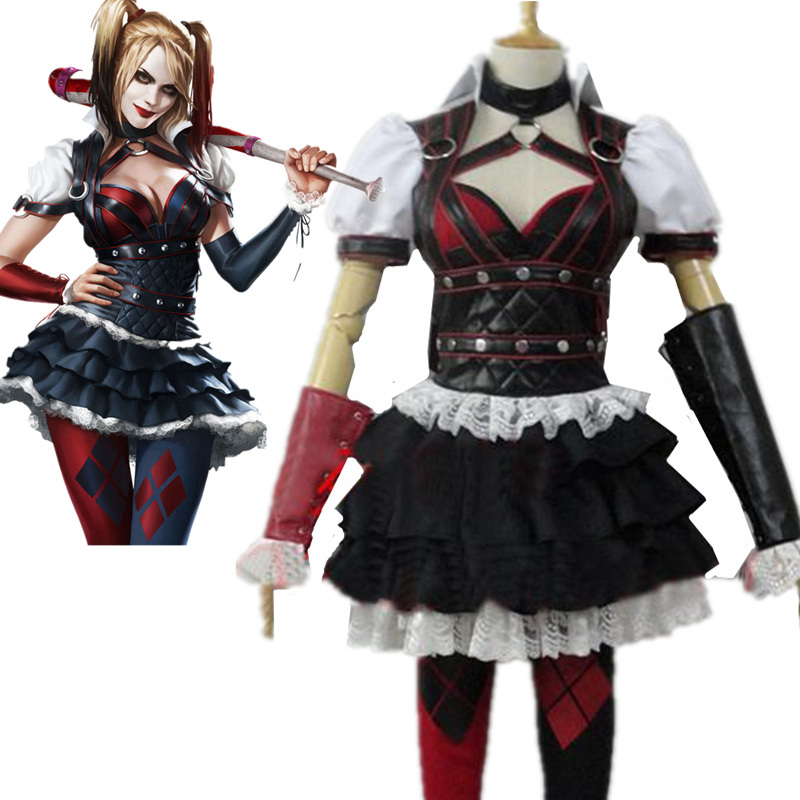 Batman Arkham Asylum City Harley Quinn Cosplay Costume Party Dress Suit For  Adult Superstar Town on Aliexpress.com | Alibaba Group