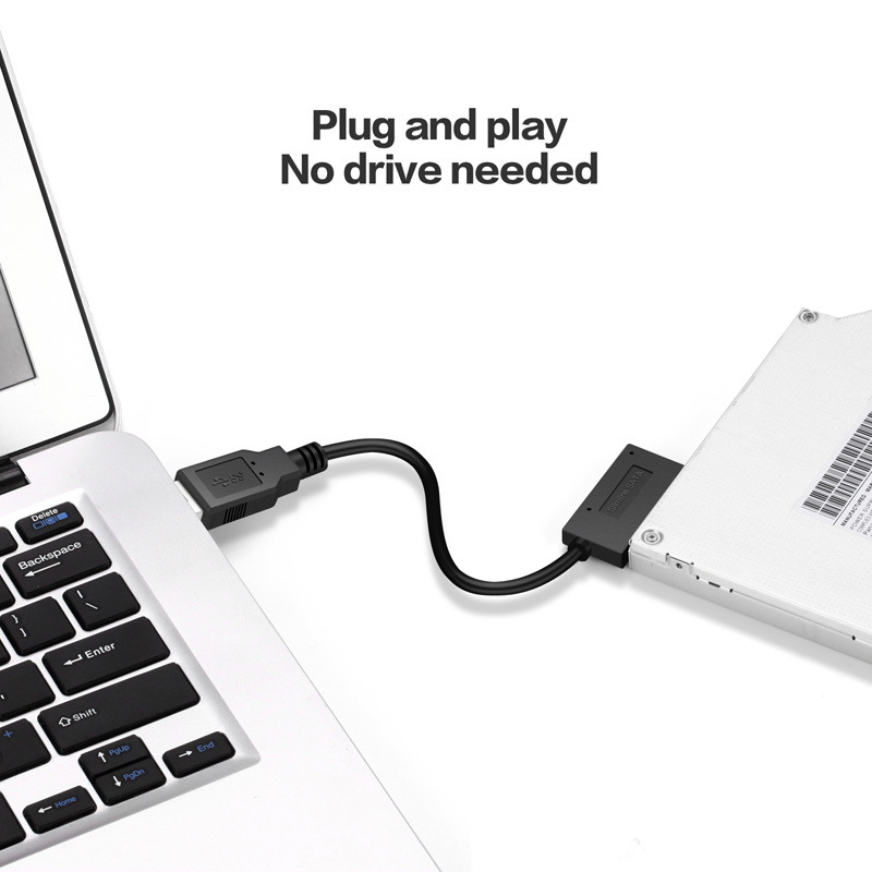 SATA to USB3.0 Adapter Cable SATA7+6pin Optical Drive High Speed Data Signal Transmission Read Input Support Burning