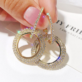 New design Round Shiny Rhinestone Gold Drop Earrings for Women Girl Geometric Crystal Big Wedding party.jpg 350x350 - New design Round Shiny Rhinestone Gold Drop Earrings for Women Girl Geometric Crystal Big Wedding party Earring cc Jewelry