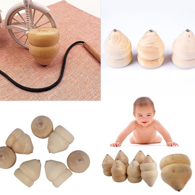 Natürliche Farbe Spielzeug Kinder Holz Kreisel Spinner Gyro Holz ...