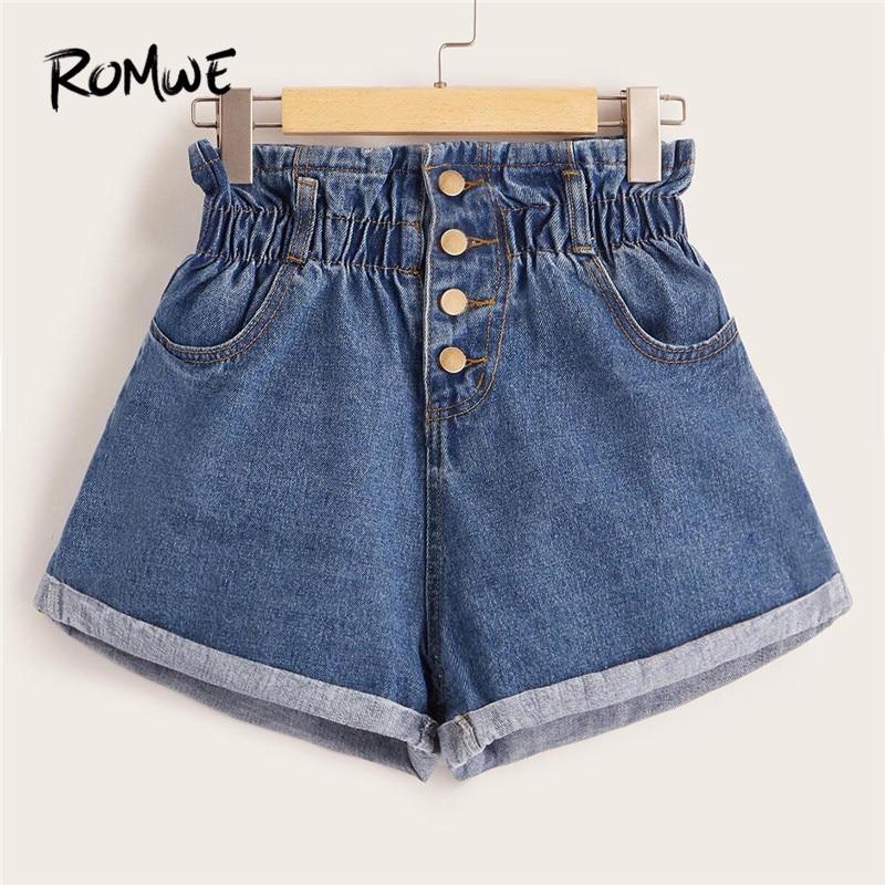 ROMWE Blue Elastic Mid Waist Rolled Hem Casual Denim Shorts Women Button Fly Solid Summer Jean Shorts