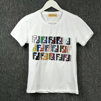 2018 Women T Shirt New Fashion Summer Sequins Embroidered O Neck Cotton Letter Pattern Short Sleeve