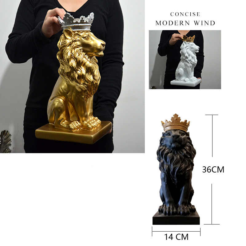 Crown Lion Ornaments Living Room Wine TV Cabinet Decorations Modern Minimalist Office Desk Art Showcase Bar Cafe Leo home Statue