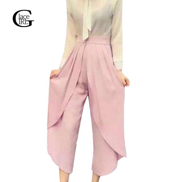 Lace Girl Chiffon Women Pants Wide Leg Trousers 2017 Fashion Casual Irregular High Elastic Waist Pleated Loose Pants For Women