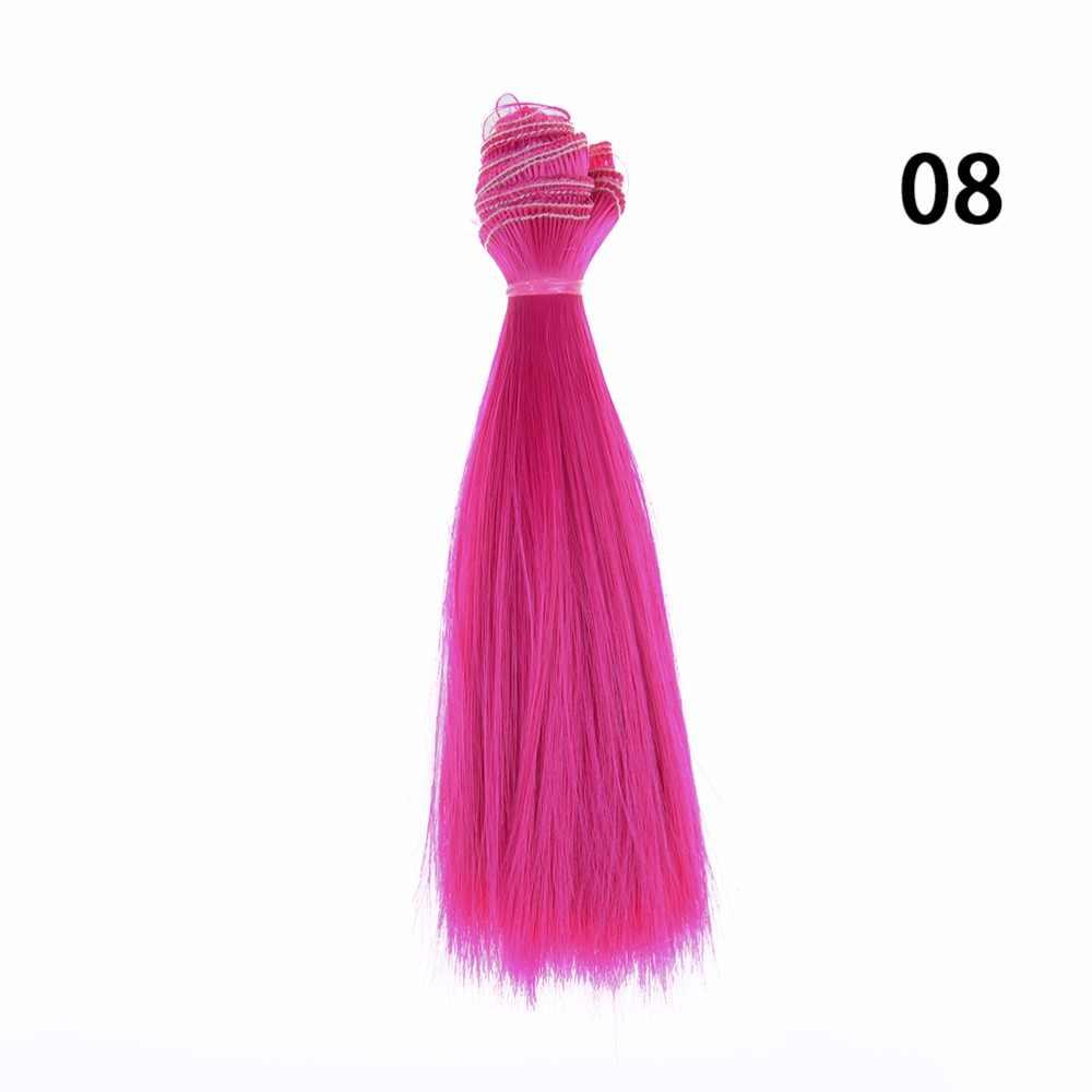 2017 material cor natural 15 cm longo boneca cabelo de alta temperatura grossa bjd multi-cores perucas de cabelo reto acessórios da boneca