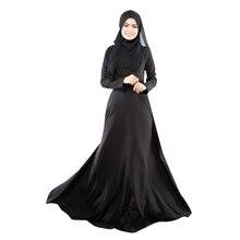 New Kaftan Abaya Dress Muslim Islam Women Jilbab Long Sleeve Maxi Dress Solid Color  PY3