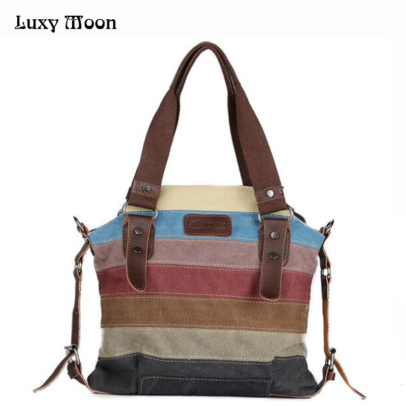 Hot  Canvas Handbags Super Patchwork Women Shoulder Bags Shopping Bag Casual Pat