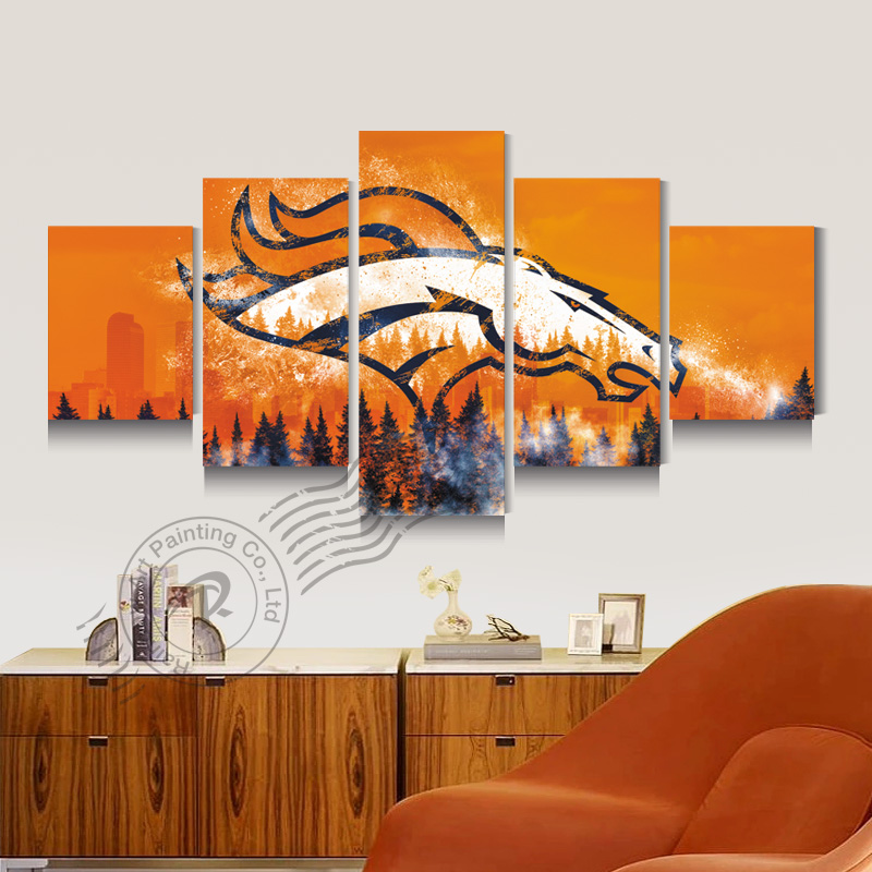 Denver Broncos Team Logo New Eagle Sport Canvas Oil Painting Wall Art Prints Pictures For Living Room Unframed RB0085