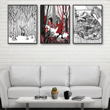 Decor Kids Room Canvas Picture Big Grey Wolf And Little Red Riding Hood Painting Forest Deer Poster Wall Art Nordic Style Prints(China)
