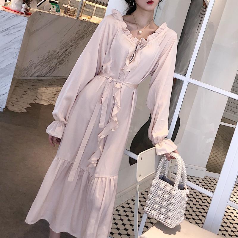 Wooden ear ruffles dress 2018 spring summer new sweet style full sleeve lace up women drss high waist long dress Female gx346