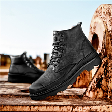 LAISUMK Brand Big Size Men Black Shoes Martin Boots Wear Resistant Leather Casual Males Motorcycle Lace Up Boot For Mens