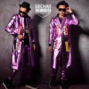 M-6XL!!Super seduction light pink PU long collage coat star nightclub bar singer DJDS performance costumes.