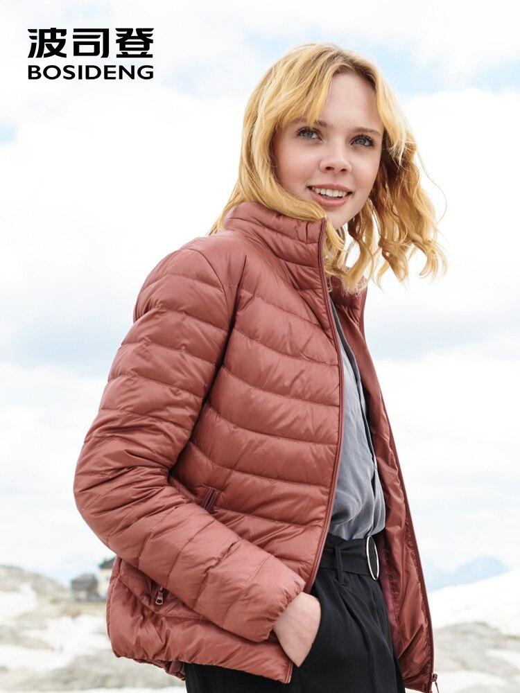 BOSIDENG 2018 nouveau début de l'hiver duvet de canard veste pour femmes vers le bas manteau ultra lumière haute qualité solide couleur chaud B80131522