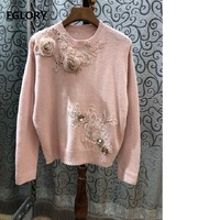 New Plus Size Sweaters Pullover 2018 Women Appliques Embroidery Beading Long Sleeve Pink Black Tops Jumper Ladies Soft Knitwear