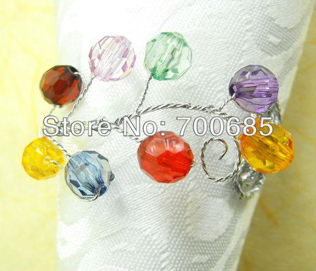 glass beades flower bulk napkin ring multi color acrylic diamond
