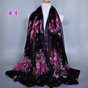 Image 1 - Grande Stampato Balinese Sciarpe di Cotone Hijab Delle Donne Casual Lungo e sottile Sciarpa Involucro Musulmano Foulard Floreale Dello Scialle Arabo Etnico 180x90 centimetri
