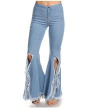 2017 Весна Новая Мода Отбеленные Демин Flare Брюки женские Светло-Голубой Средний Талия Ripped Кисточкой Длинные Джинсы Брюки