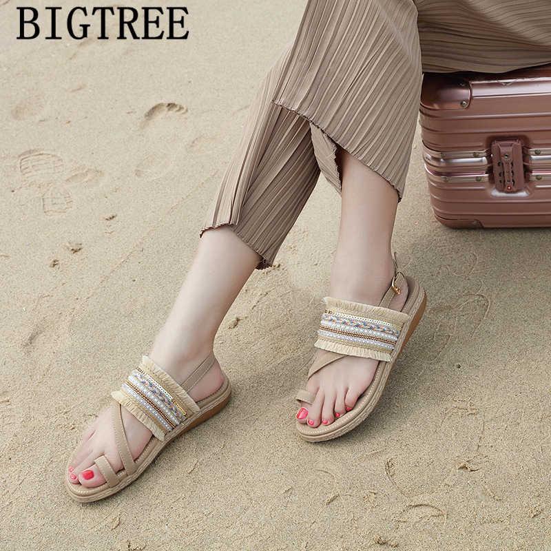 Strass sandalen glitter sandalen rood sexy bohemian platte sandalen vrouwen schoenen zomer mode 2019 teenslippers sapato feminino