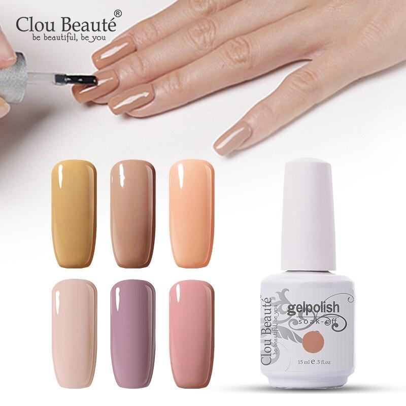 Clou Beaute UV Gel Nail Polish Long-lasting Gel Varnish Nude Color Soak off Lacquer Makeup Nail Art Comestic Gel Polish Nail Gel