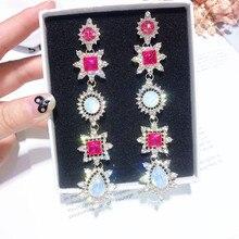 Korean Sweet Girl Pink Rhinestone  Long Tassel Drop Dangle Earrings Women Fashion Jewelry Accessories Gift